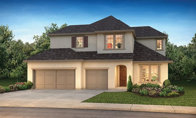 Plan 5050 Exterior D: French Country