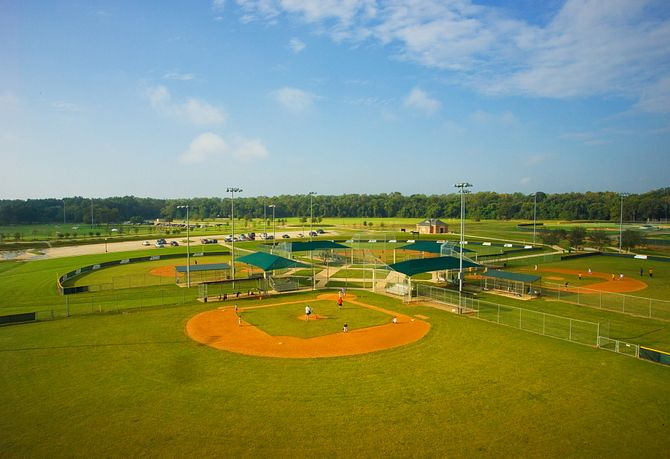 Aerial view of the four Sienna Baseball Fields