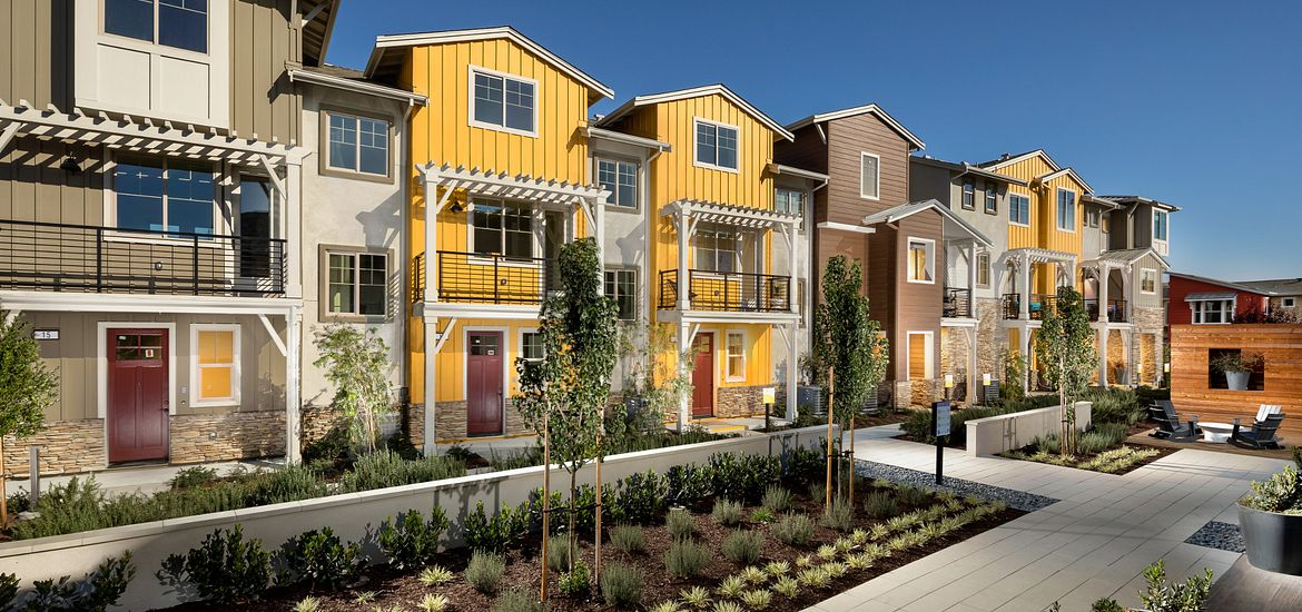 Outdoor view of a Shea Homes community with green areas