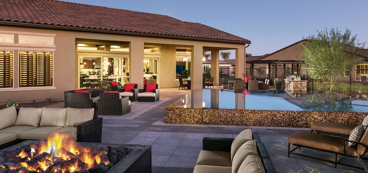 Firepit and outdoor living area at Trilogy at Vistancia in the Phoenix, AZ area
