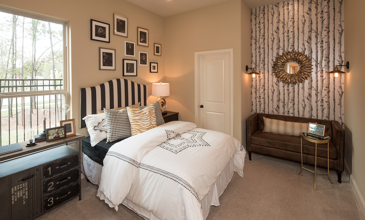 Plan 4132 Guest Bedroom modeled in Harmony