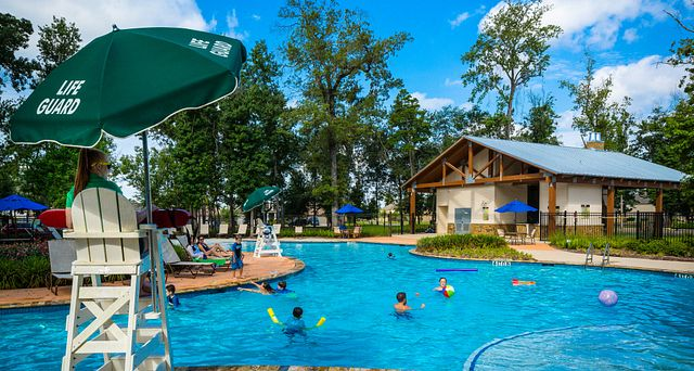 Pool area in the Harmony community in Spring, Texas