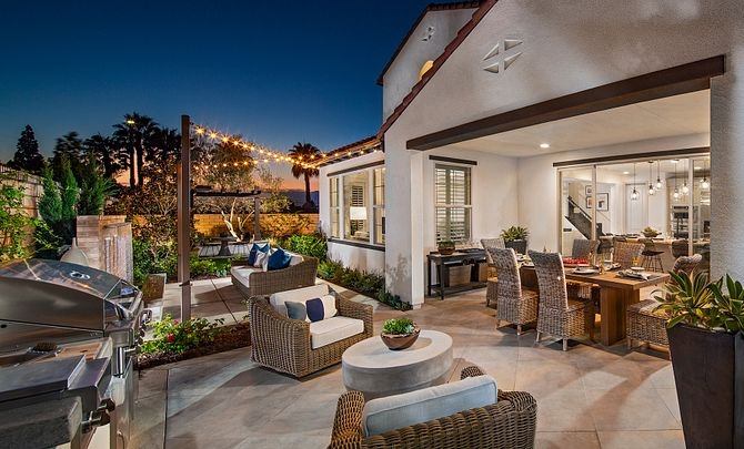 Artisan Plan 2 Backyard with outdoor room and bbq