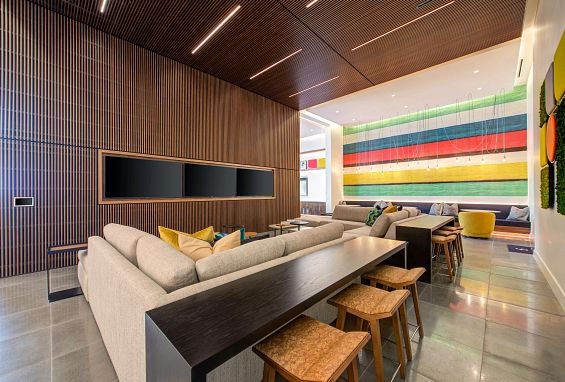 Symmetry apartments northridge amenity spirits and screens resident lounge
