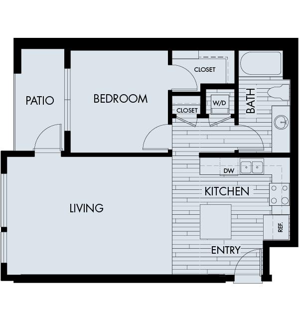 Vela Meridian Apartments 1 bedroom 1 bath Plan 1C