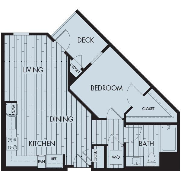 Symmetry apartments northridge one bedroom one bathroom floor plan 1a