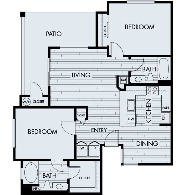 Park sierra at iron horse trail apartments dublin floor Plan 2C