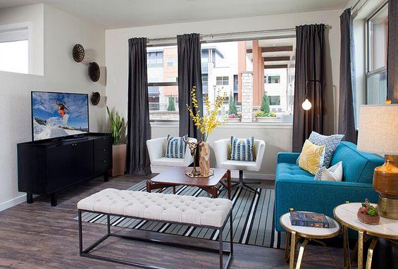 Vela Meridian Apartments two bedroom two bath Plan 2C living room