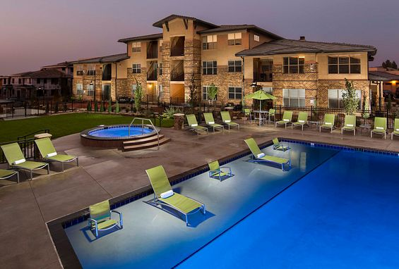zenith meridian Englewood apartments areal shot of community with pool
