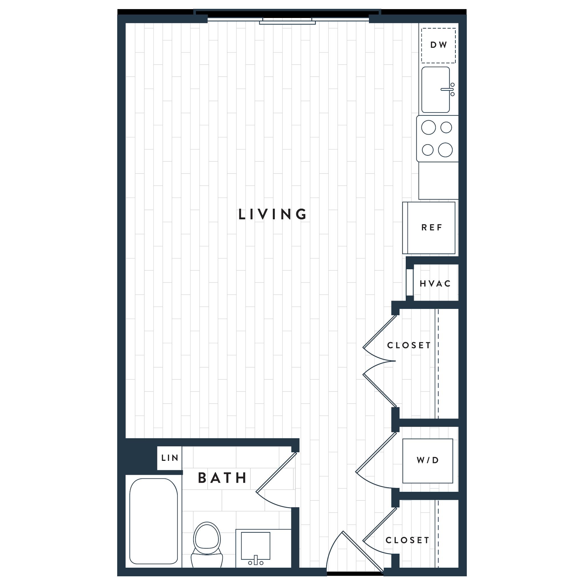 Tangent Apartments Denver Tech Center Studio 1 bath Plan SA