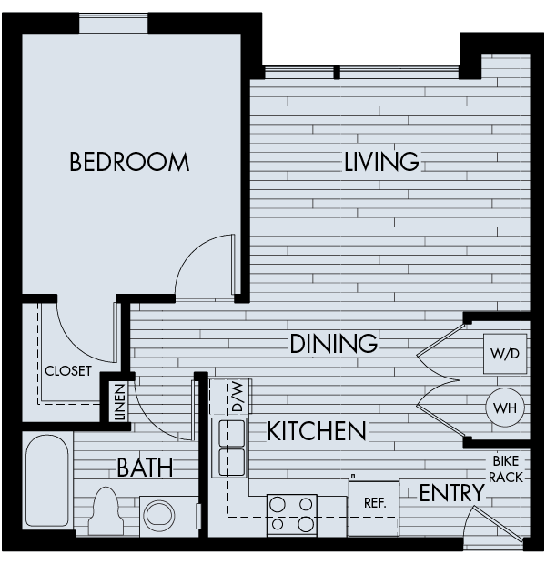 Apex meridian east affordable apartments denver one bedroom one bathroom floor plan 1B