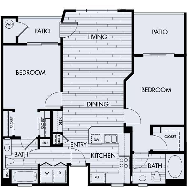Park sierra at iron horse trail apartments dublin floor Plan 2D