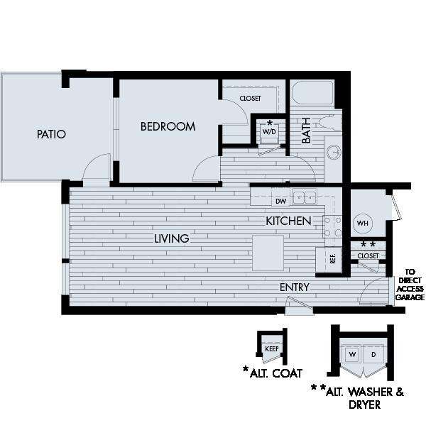 Vela Meridian Apartments 1 bedroom 1 bath direct access garage Plan 1D