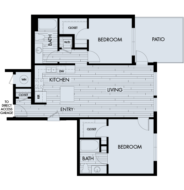 Vela Meridian Apartments 2 bedroom 2 bath direct access garage Plan 2B