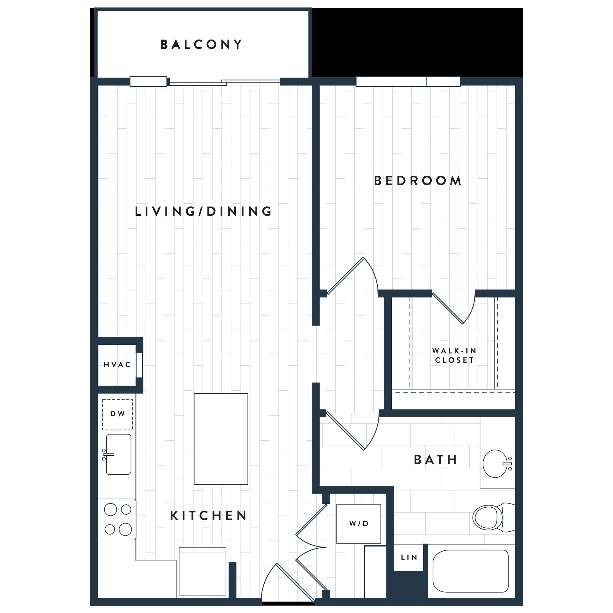 Tangent Apartments Denver Tech Center 1 bedroom 1 bath Plan 1A