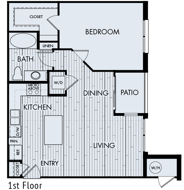 zenith meridian Englewood apartments plan 1b one bedroom one bathroom