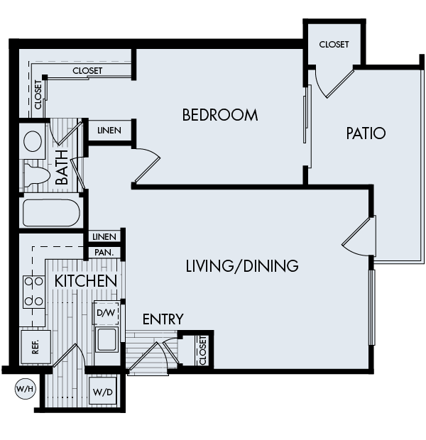 Creekside village apartments fremont one bedroom one bathroom floor plan 1a