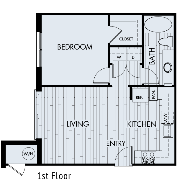 zenith meridian Englewood apartments plan 1a 1 bedroom 1 bathroom