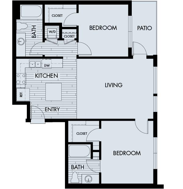 Vela Meridian Apartments 2 bedroom 2 bath Plan 2A