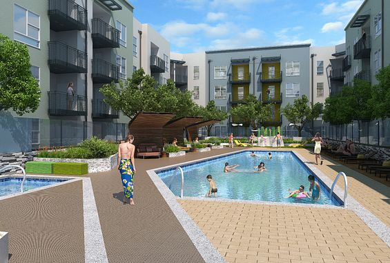 Symmetry apartments northridge amenity pool courtyard
