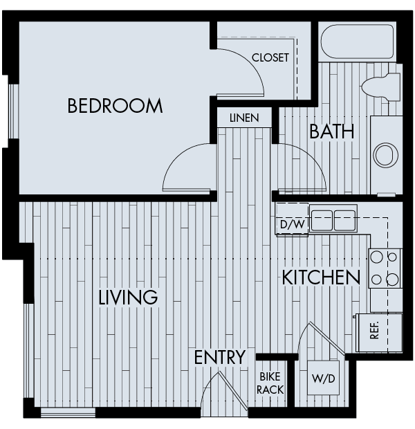 Apex meridian east affordable apartments denver one bedroom one bathroom floor plan 1a