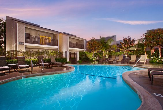 Resort-style pools and spas at Crystal Springs Apartments in Fountain Valley, CA