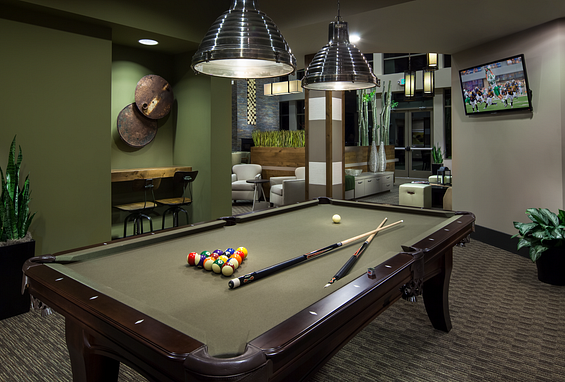 zenith meridian Englewood apartments resident lounge with pool table