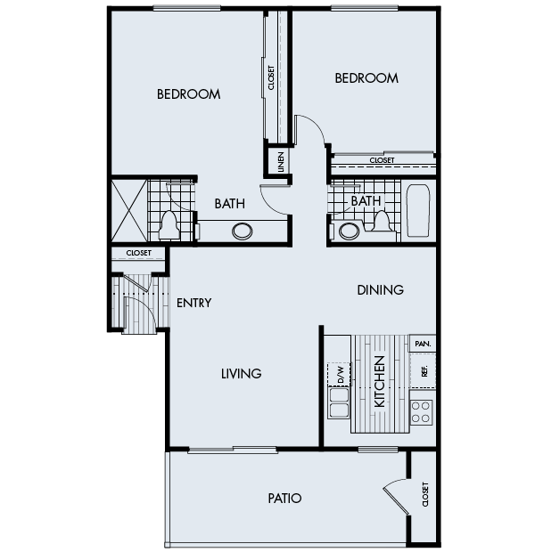 Plan 2B at Crystal Springs Apartments in Fountain Valley