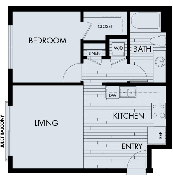 Vela Meridian Apartments 1 bedroom 1 bath Plan 1A