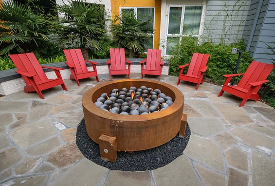 Themed courtyards with fire pits at Ascent Apartments in San Jose