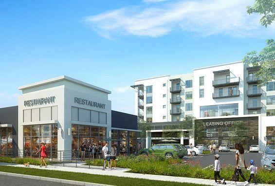 Symmetry apartments northridge building onsite restaurant and retail exterior