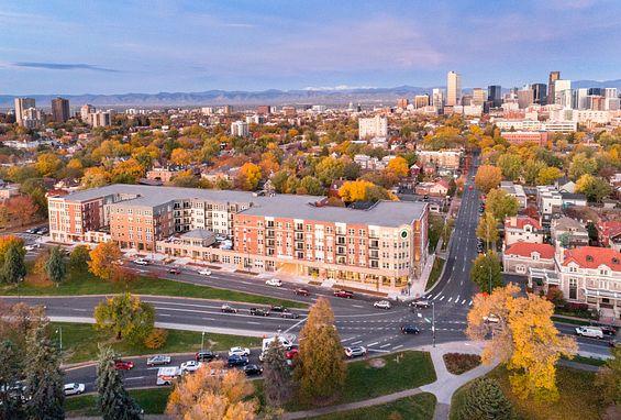 The york on city park apartments denver city park west building exterior aerial