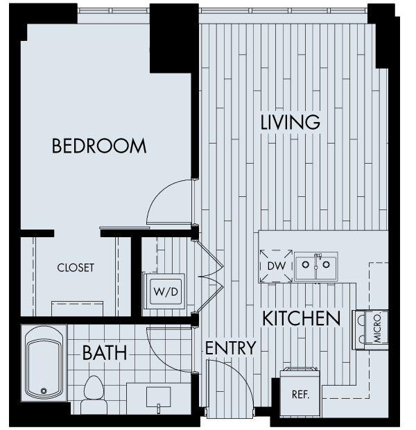 the quincy downtown denver apartments one bedroom one bathroom floor plan
