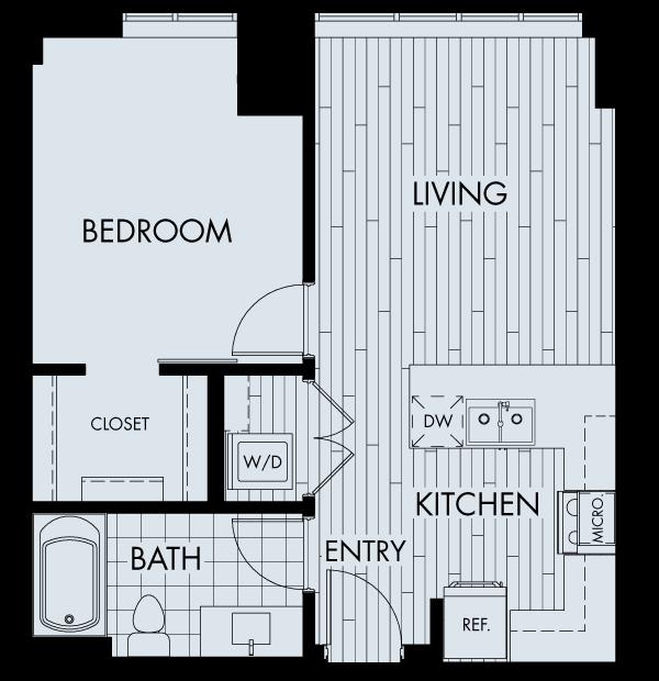 the quincy downtown denver apartments one bedroom one bathroom floor plan