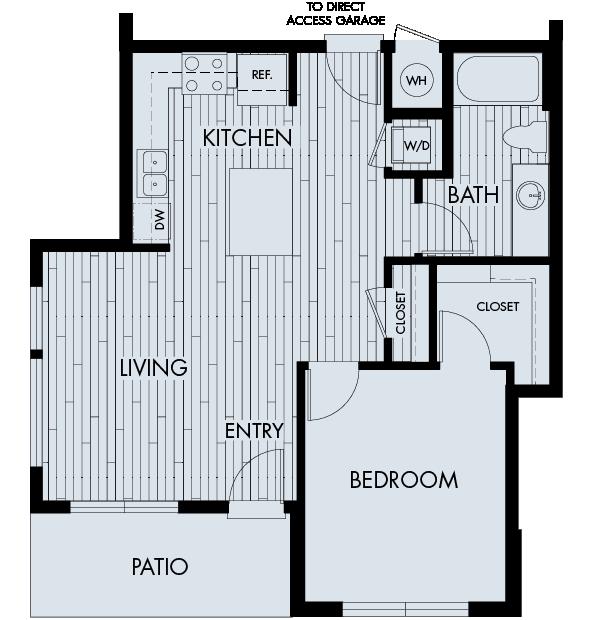 Vela Meridian Apartments 1 bedroom 1 bath direct access garage Plan 1B