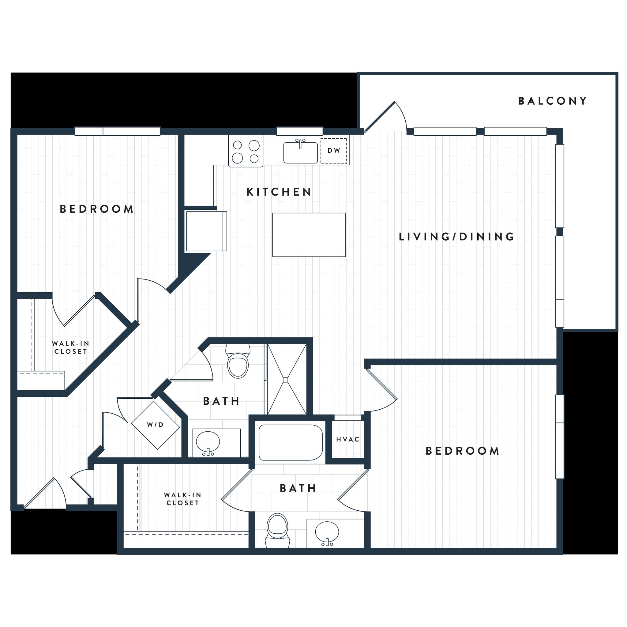 Tangent Apartments Denver Tech Center 2 bedrooms 2 baths Plan 2B