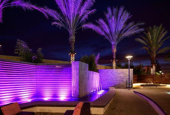 Lighted water features at Ascent Apartments