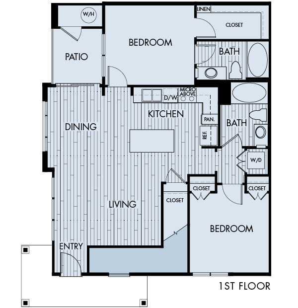 Lucent Blvd Apartments Highlands Ranch 2 bedrooms 2 baths Plan 2A