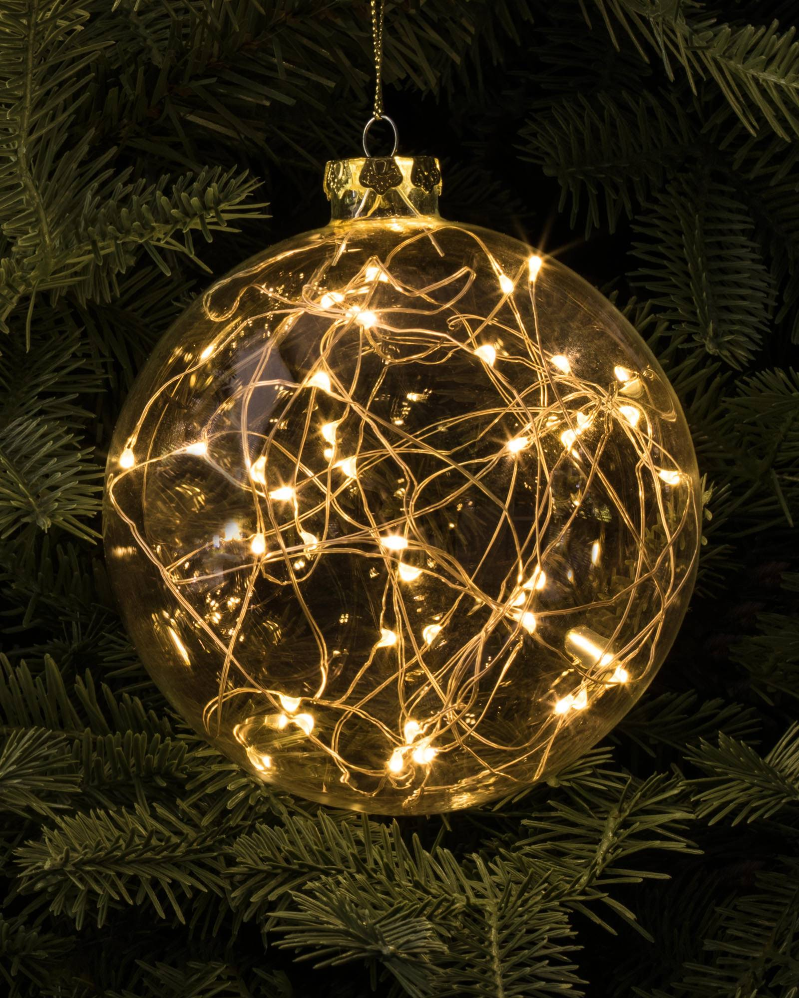 Led Rope Light Tinsel Bauble: LED Fairy Light Bauble, Set Of 3