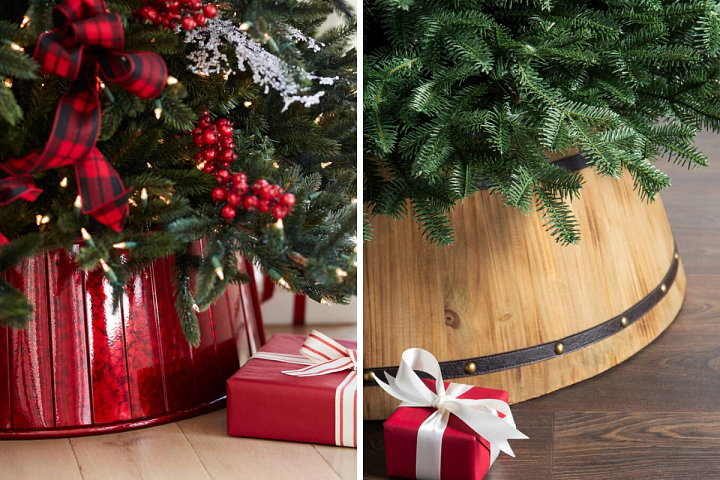 a Christmas red tree collar and a wooden barrel tree collar