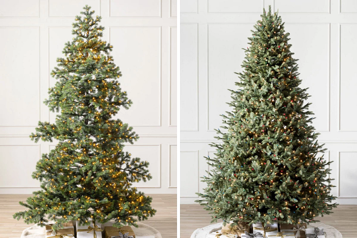 two artificial Christmas trees pre-lit with LED lights