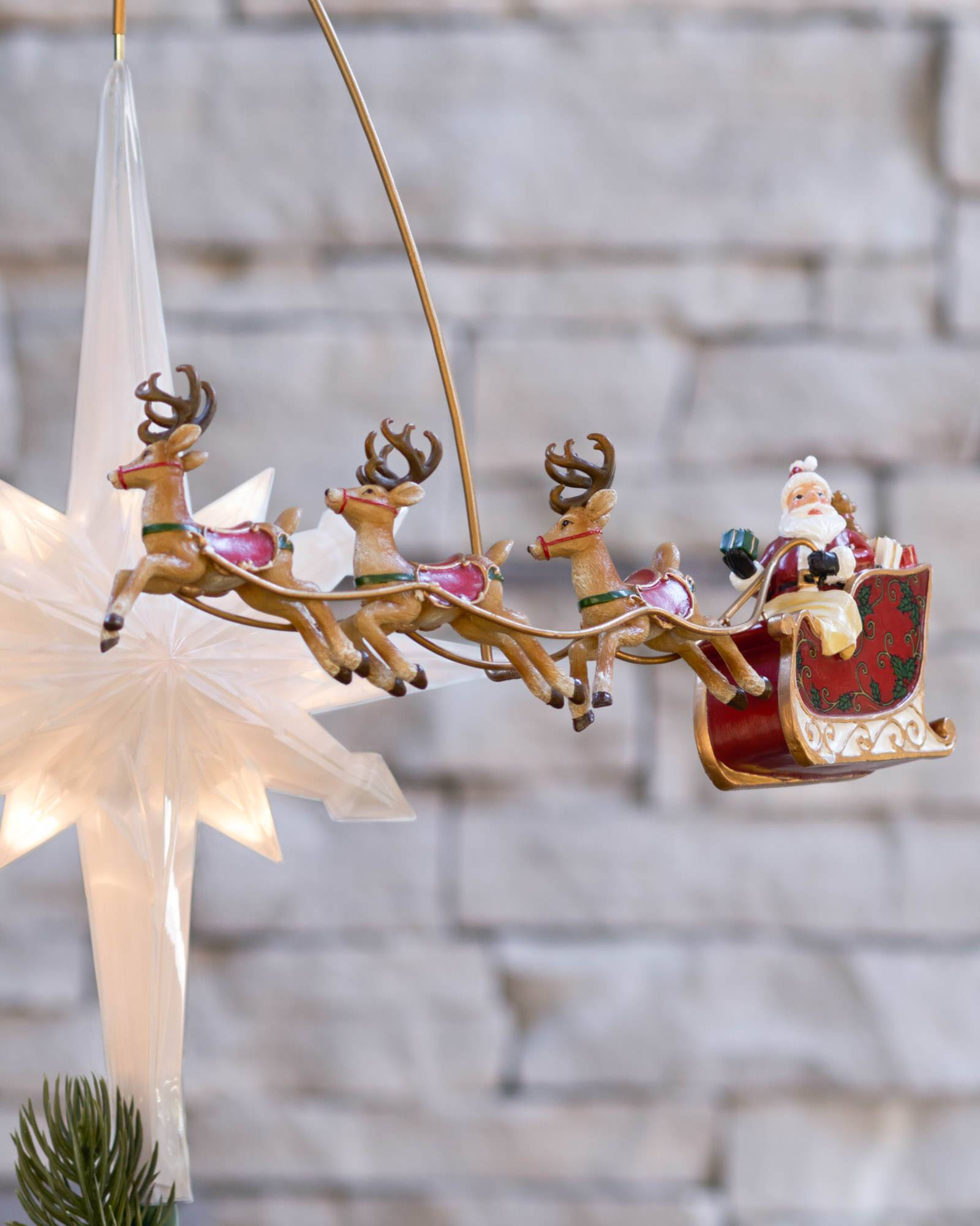 Santa sleigh ornament - Santafts Sleigh Animated Tree Topper Main