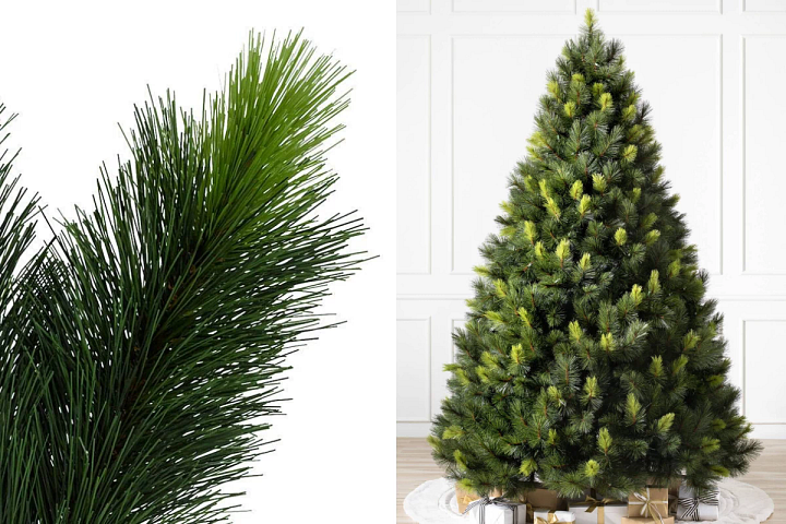 close-up and wide shots of Balsam Hill Scotch Pine artificial Christmas tree