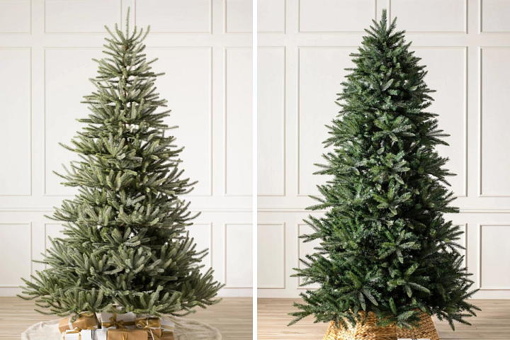two unlit artificial Christmas trees