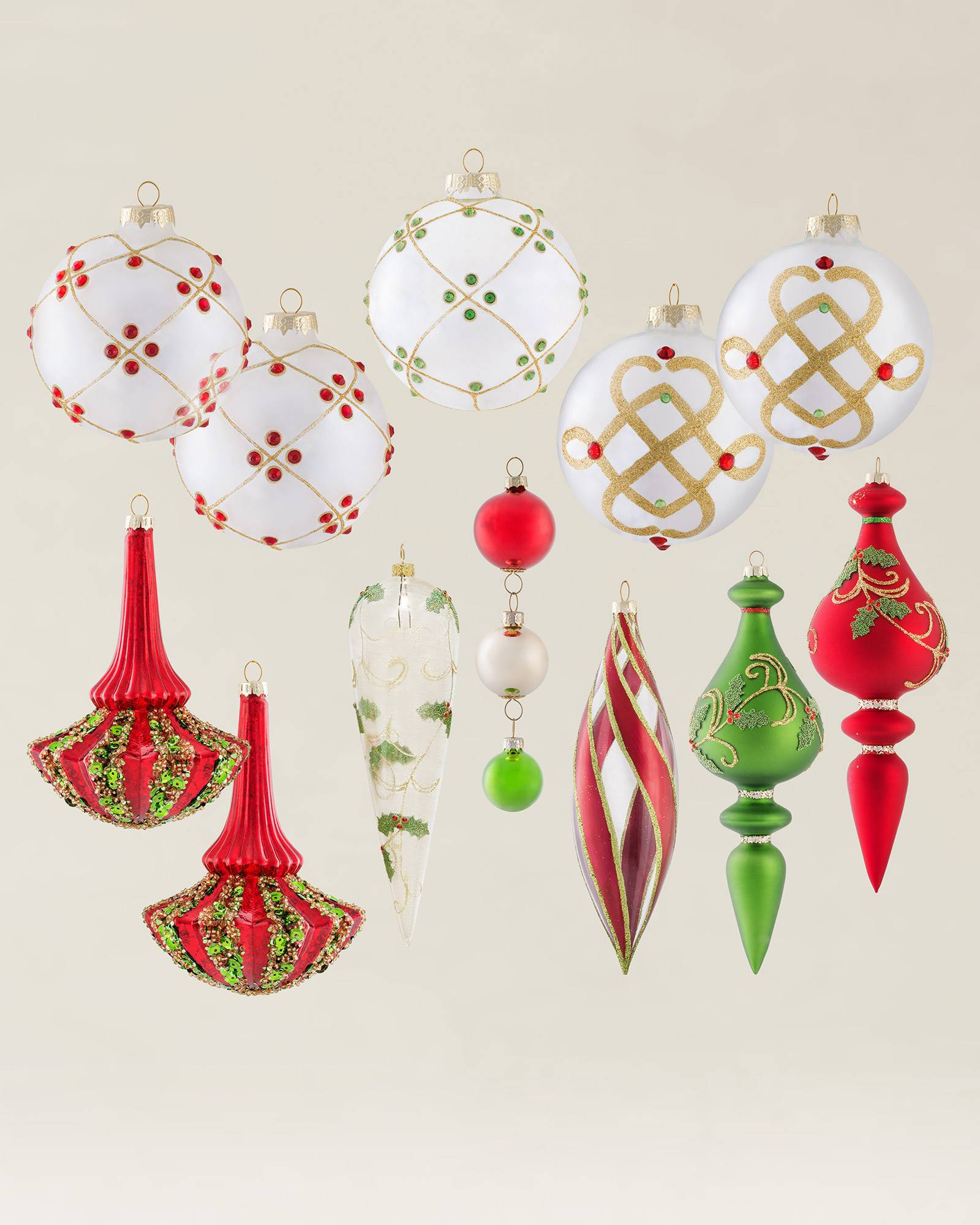 Holly christmas ornaments -  Mistletoe And Holly Glass Ornament Set 35 Pieces Alt