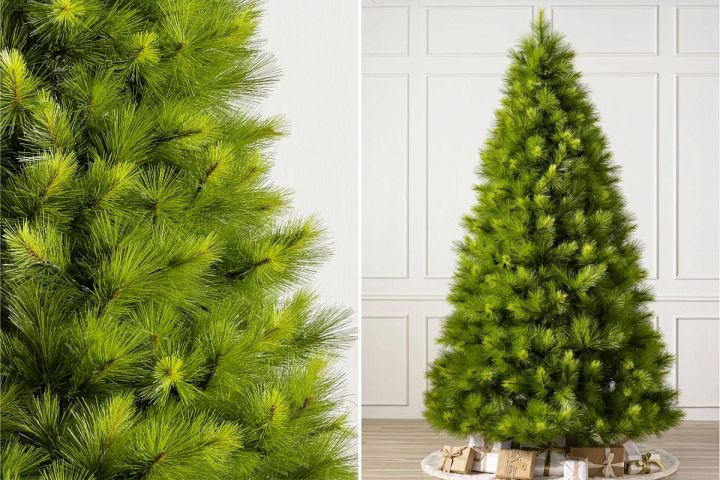 close-up and wide shots of Balsam Hill Monterey Pine artificial Christmas tree