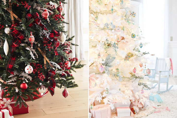 photo of a green Christmas tree with red decorations and a white tree with pastel ornaments