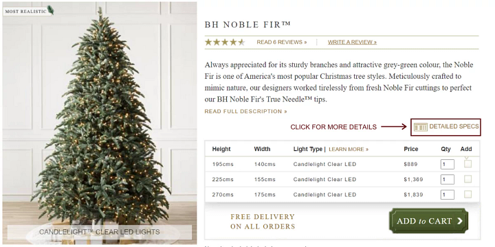 screenshot of Christmas tree product page
