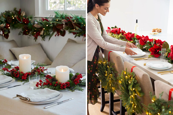 Christmas wreaths and garlands decorating two dining areas