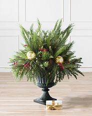 artificial potted foliage with Christmas accents
